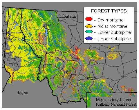 Forest Fire In The U S Northern Rockies The Regions Forests Map